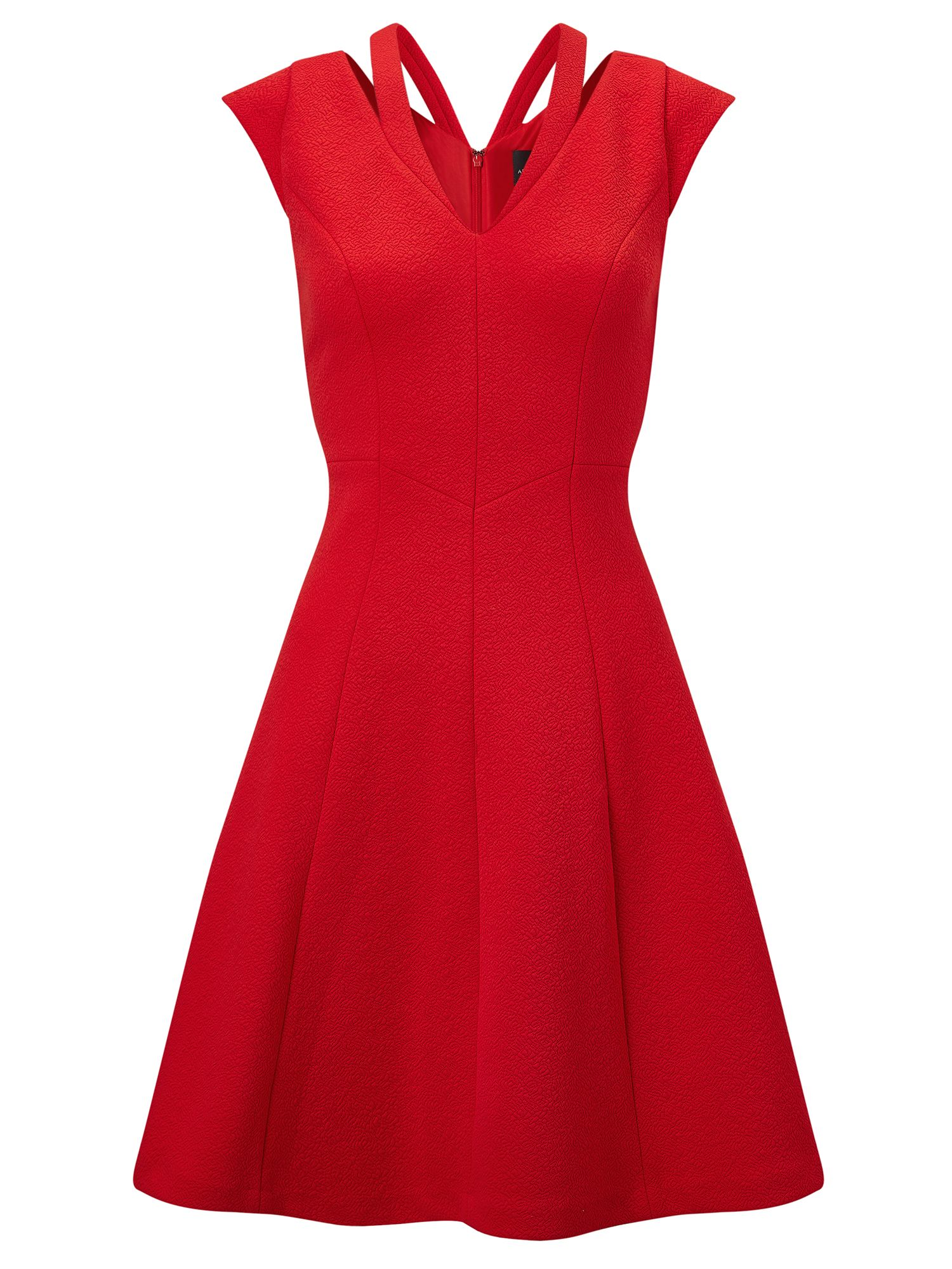 Adrianna Papell Cap sleeve textured fit & flare dress, Red