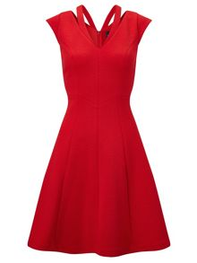 Adrianna Papell Cap sleeve textured fit & flare dress