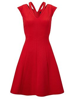 Cap sleeve textured fit & flare dress
