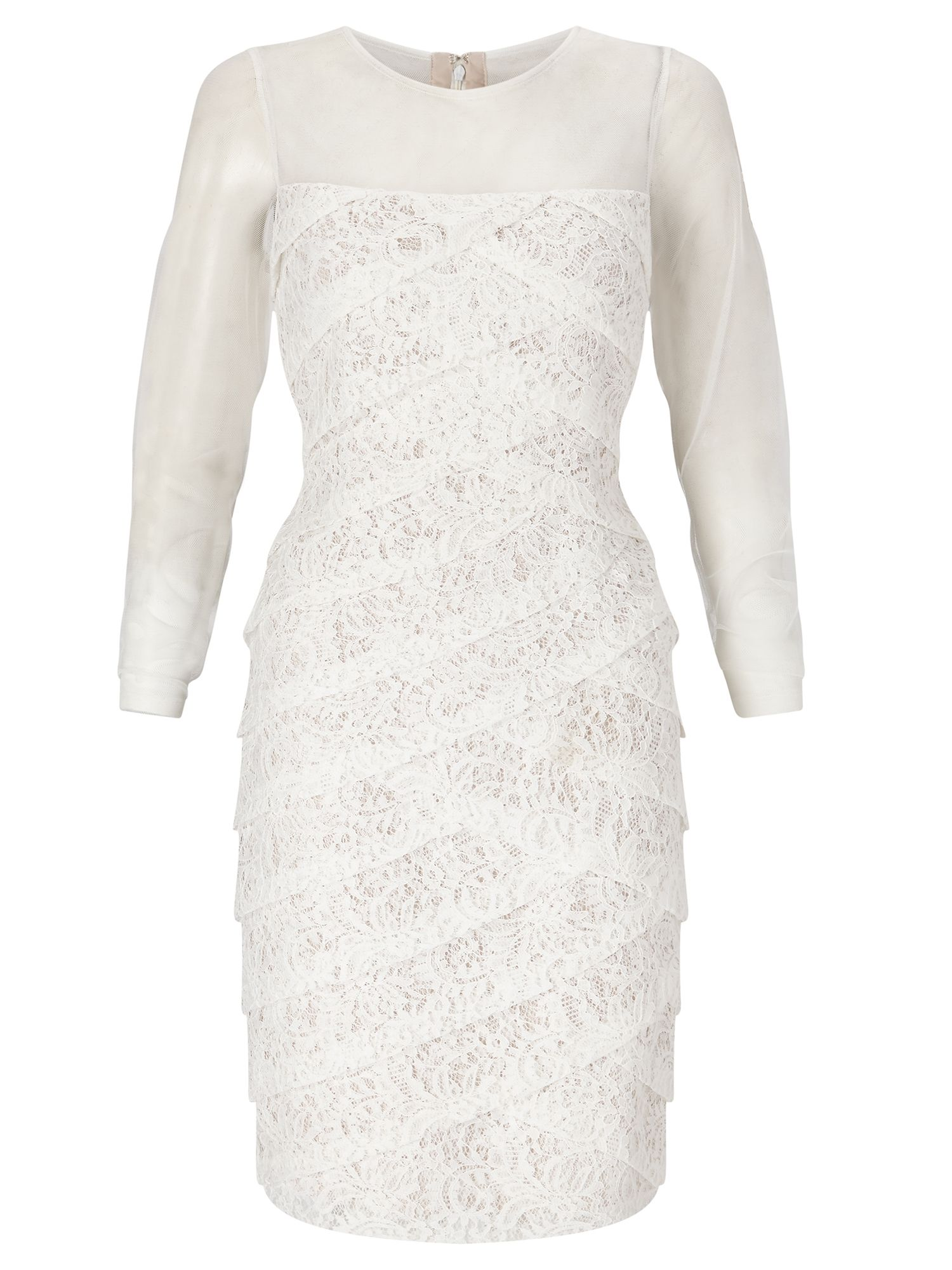 Adrianna Papell Long sleeve lace cocktail dress, White