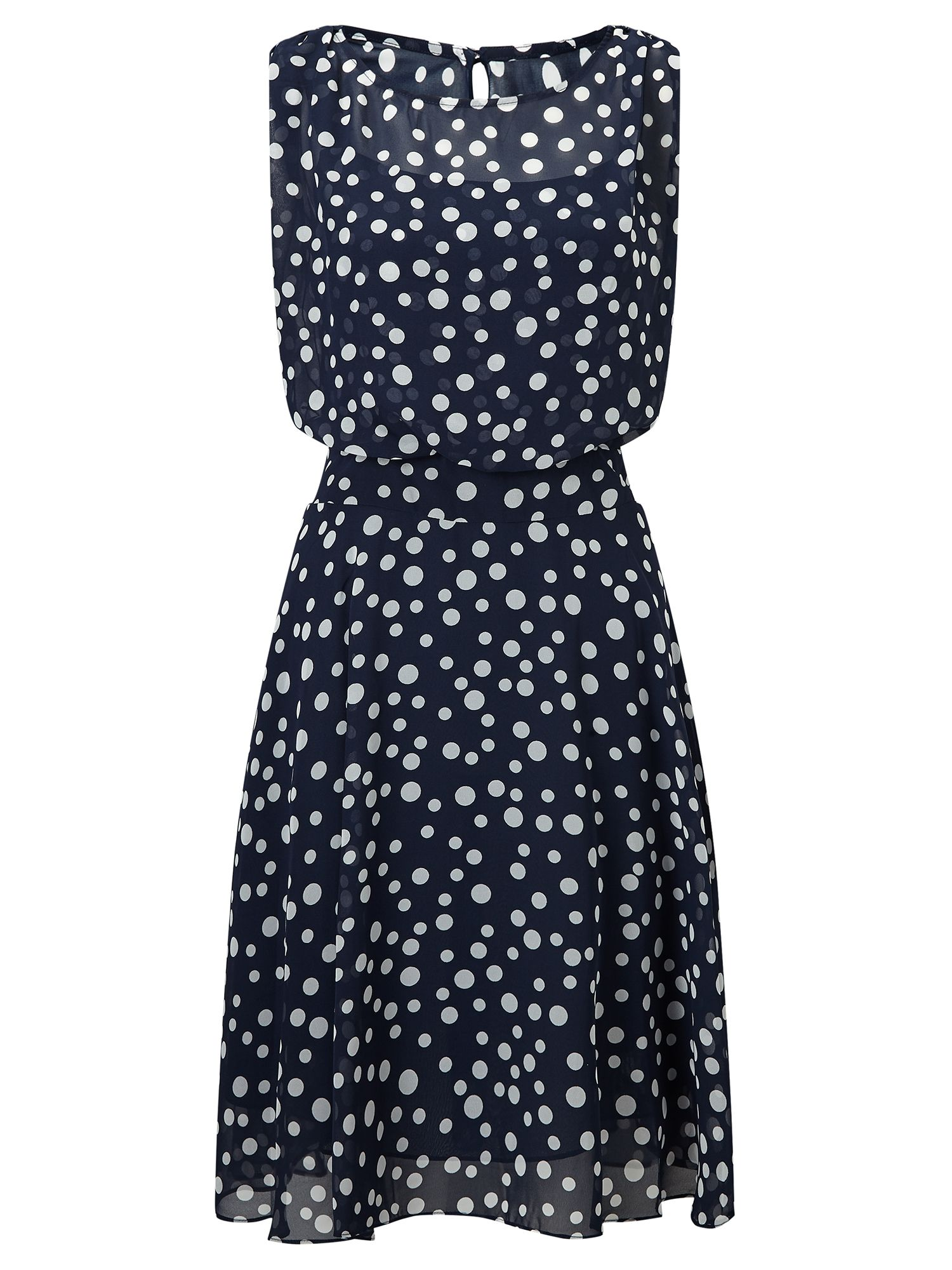 Adrianna Papell Polka dot fit and flare dress, Multi-Coloured