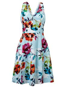 Adrianna Papell Multicolour fit and flare floral dress