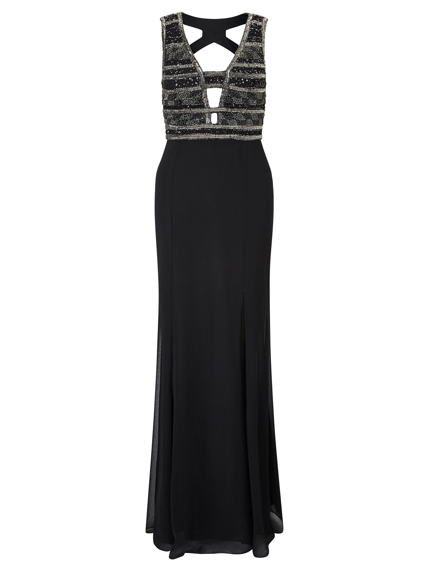 Adrianna Papell Sequin bodice evening dress, Black