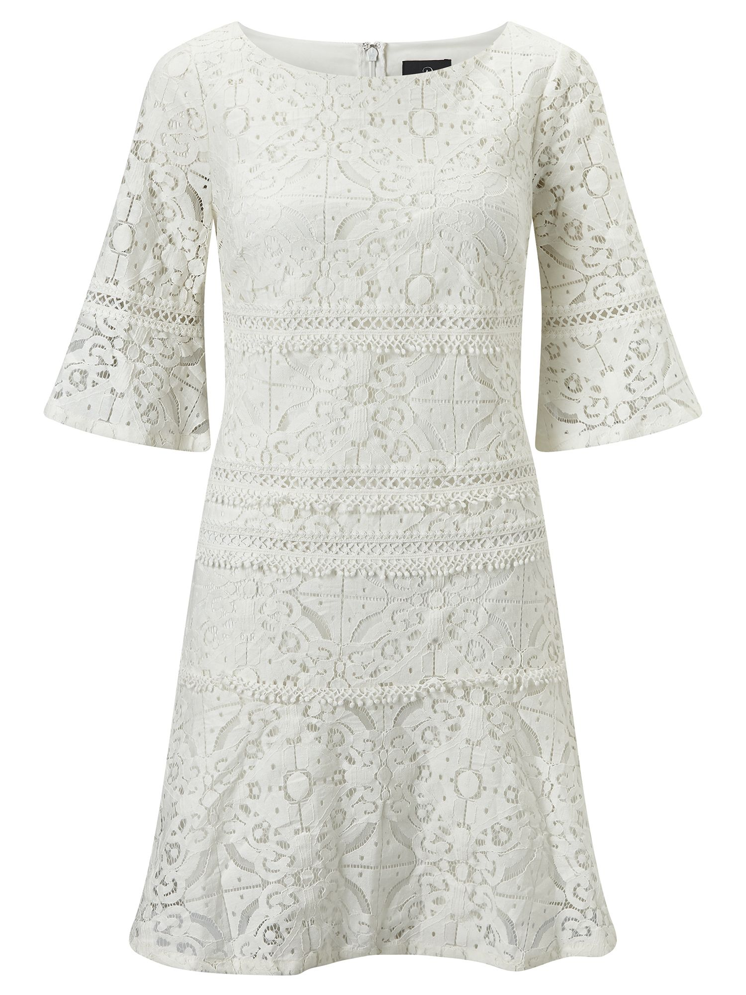 Adrianna Papell 3/4 sleeve lace shift dress, Cream