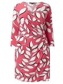 Adrianna Papell 3/4 sleeve leaf print wrap dress