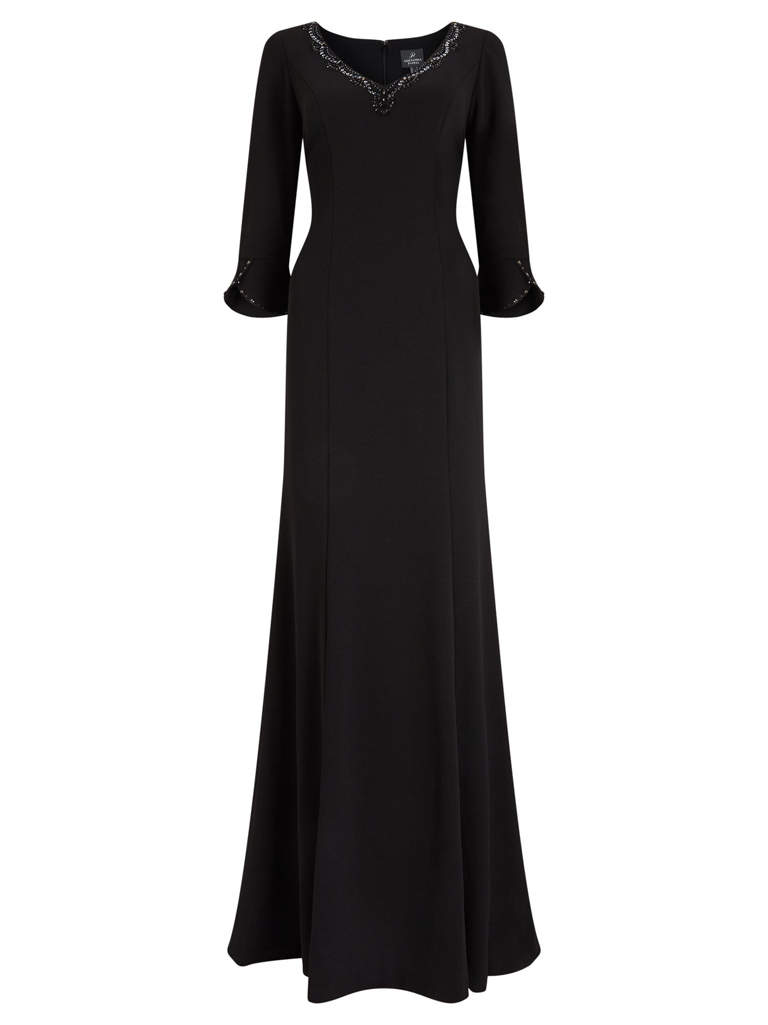 Adrianna Papell 3/4 Sleeve Evening Dress, Black