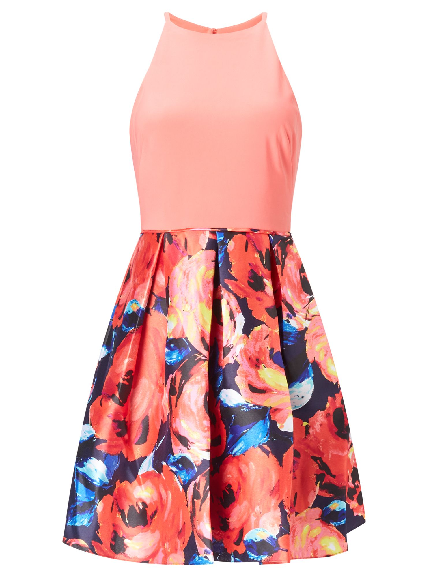 Adrianna Papell Halter fit and flare dress, Multi-Coloured