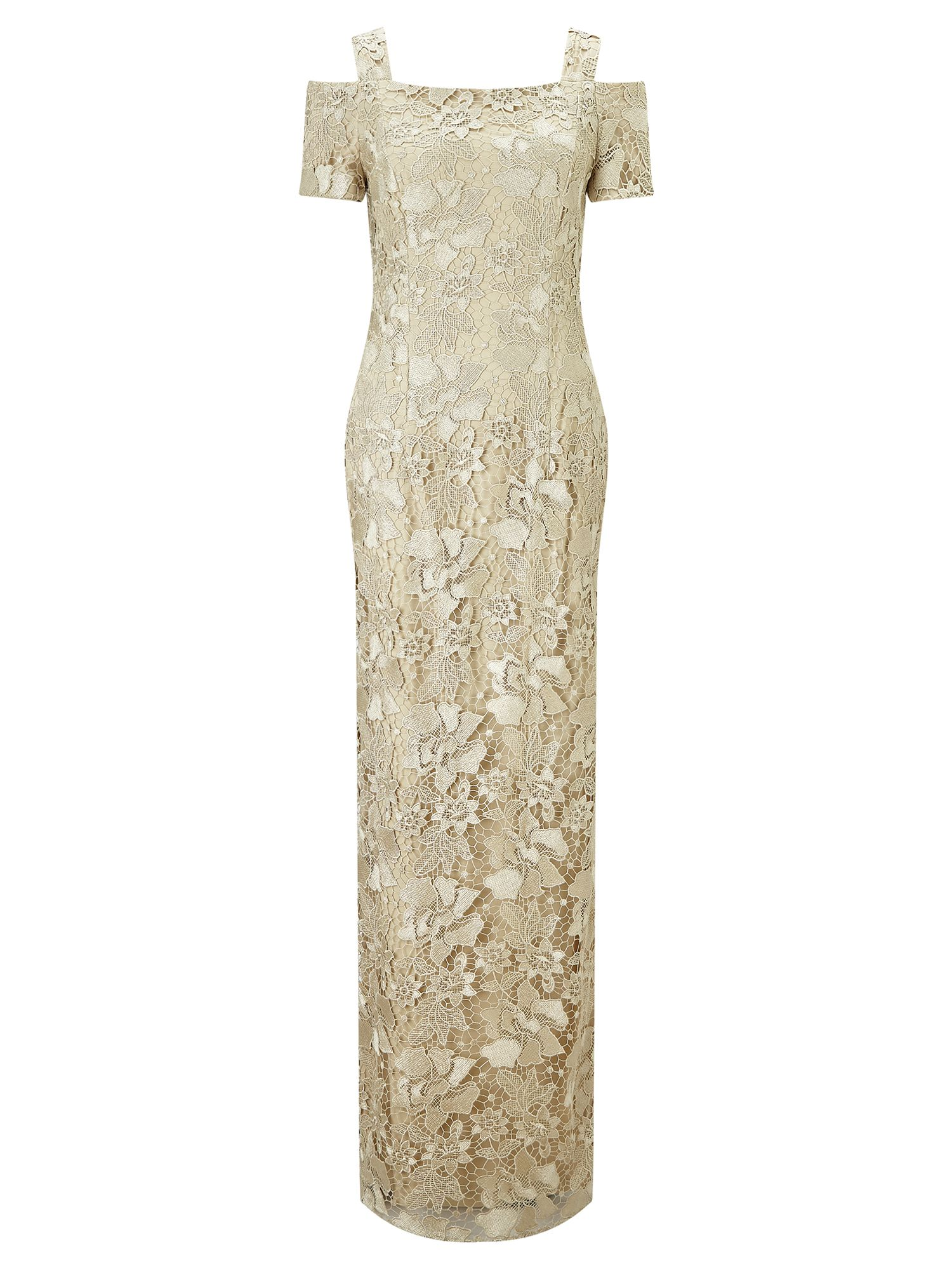 Adrianna Papell Long lace dress, White