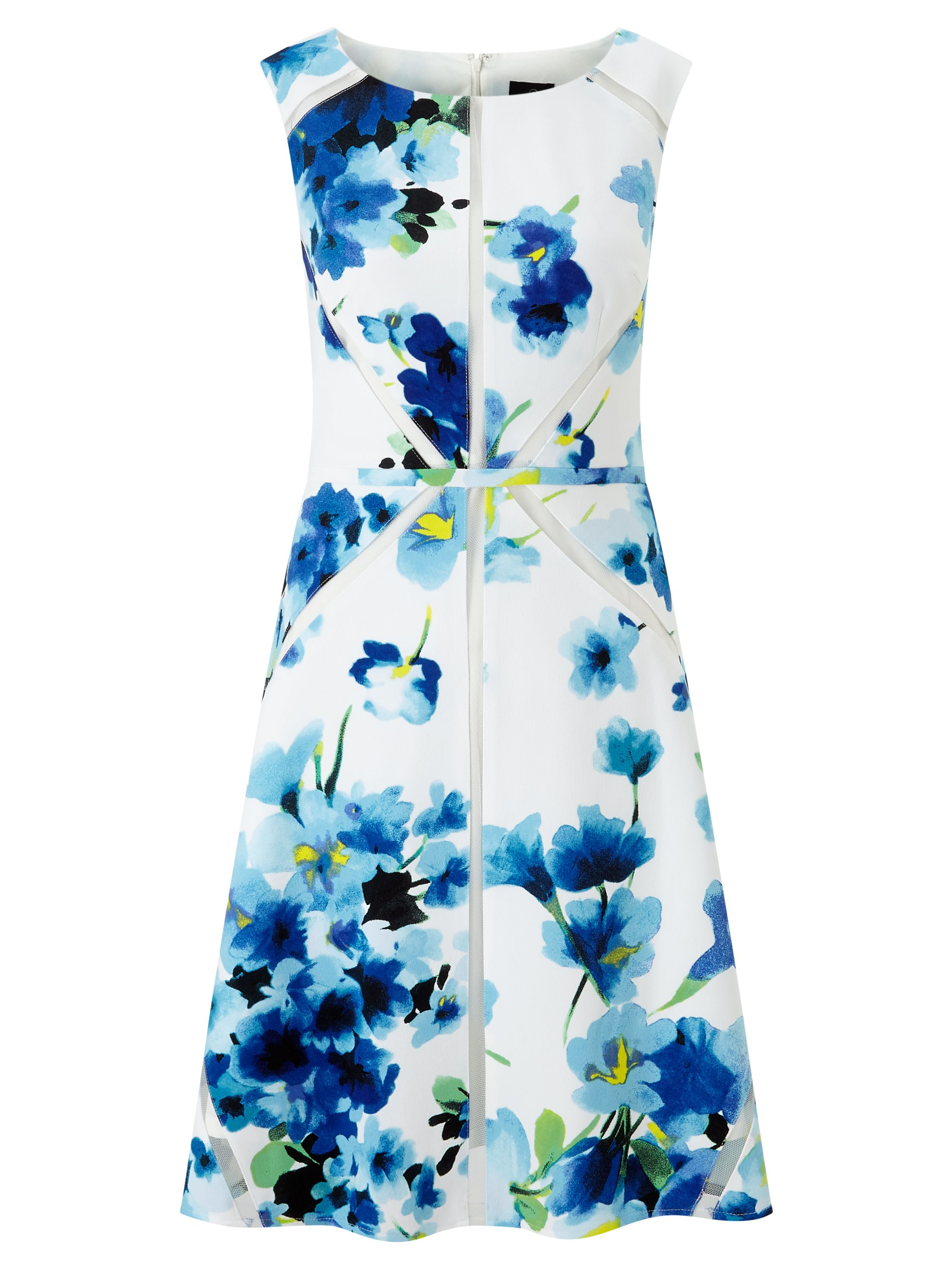 Adrianna Papell Fit and Flare Floral Dress, Blue