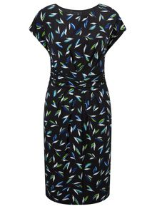 Adrianna Papell Multicolour cap sleeve leaf print dress