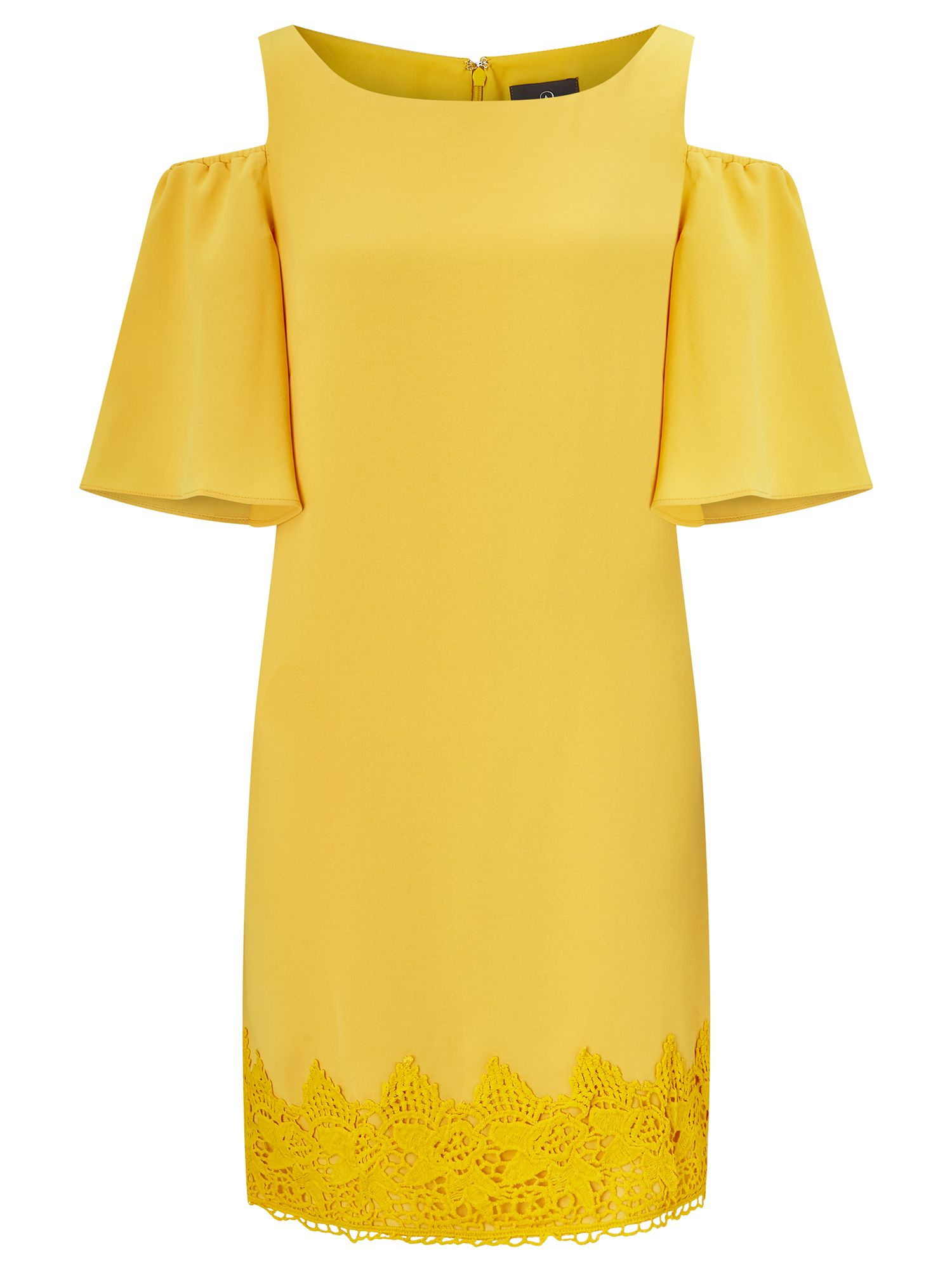 Adrianna Papell Crepe and lace dress, Yellow