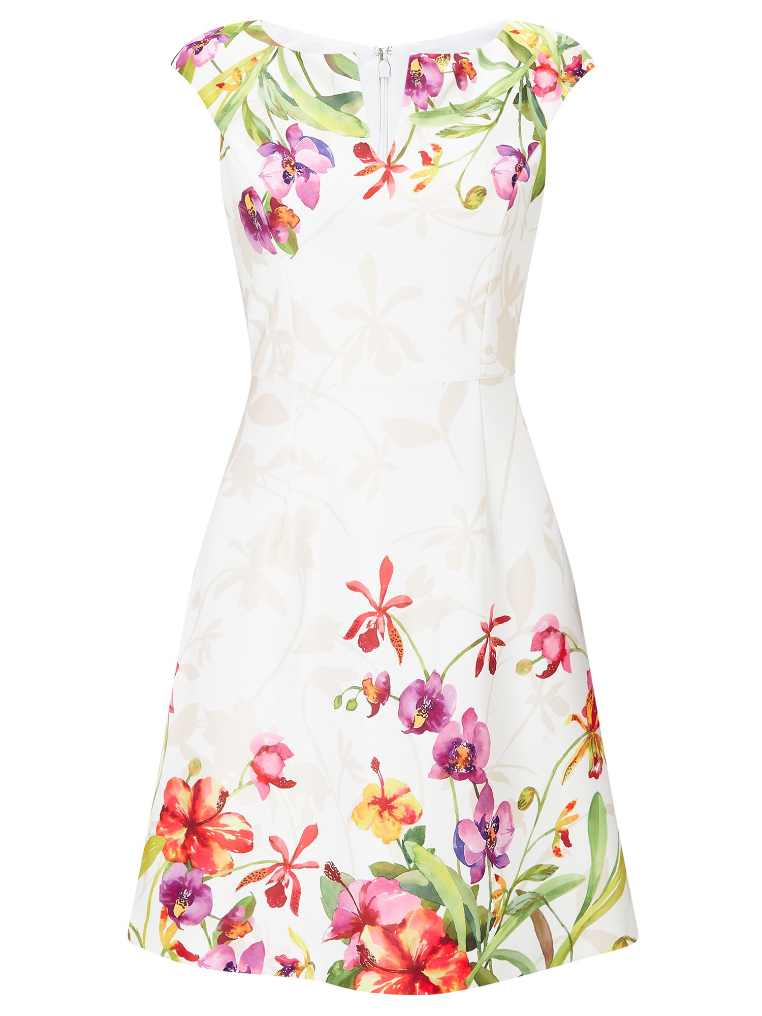 Adrianna Papell Cap Sleeve Floral Dress, Multi-Coloured