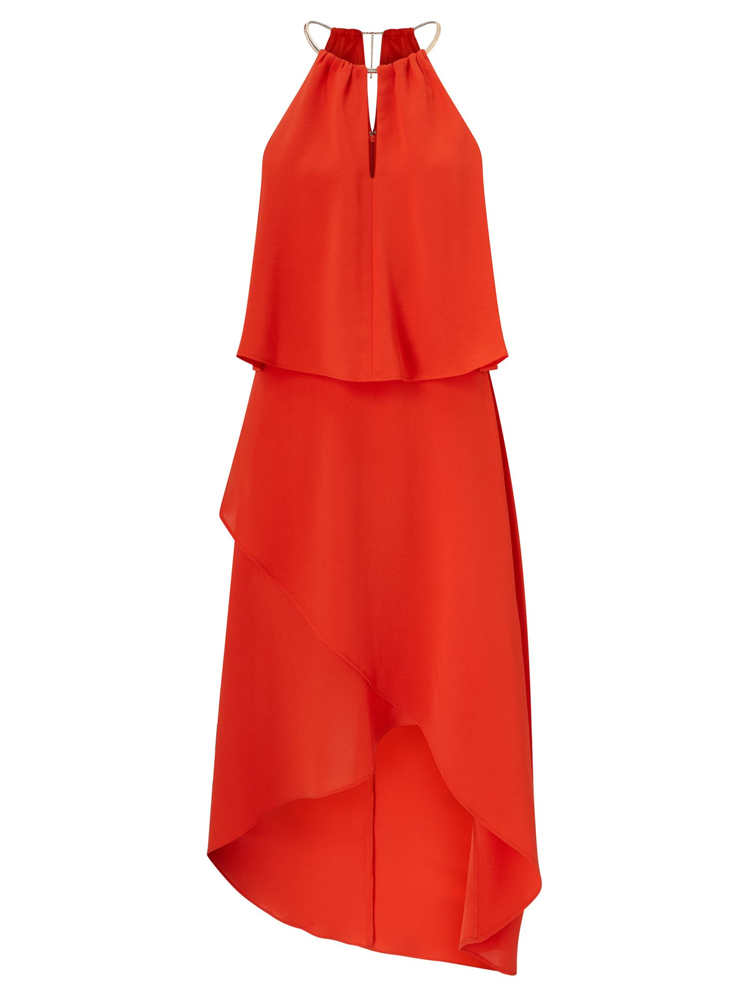Adrianna Papell Necklace tiered cocktail dress, Orange