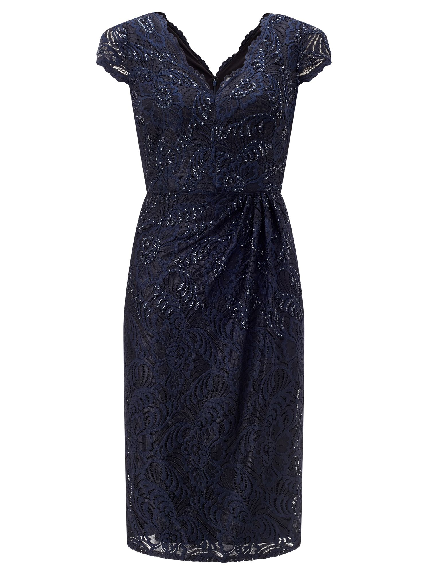 Adrianna Papell Sequin & lace dress, Dark Blue