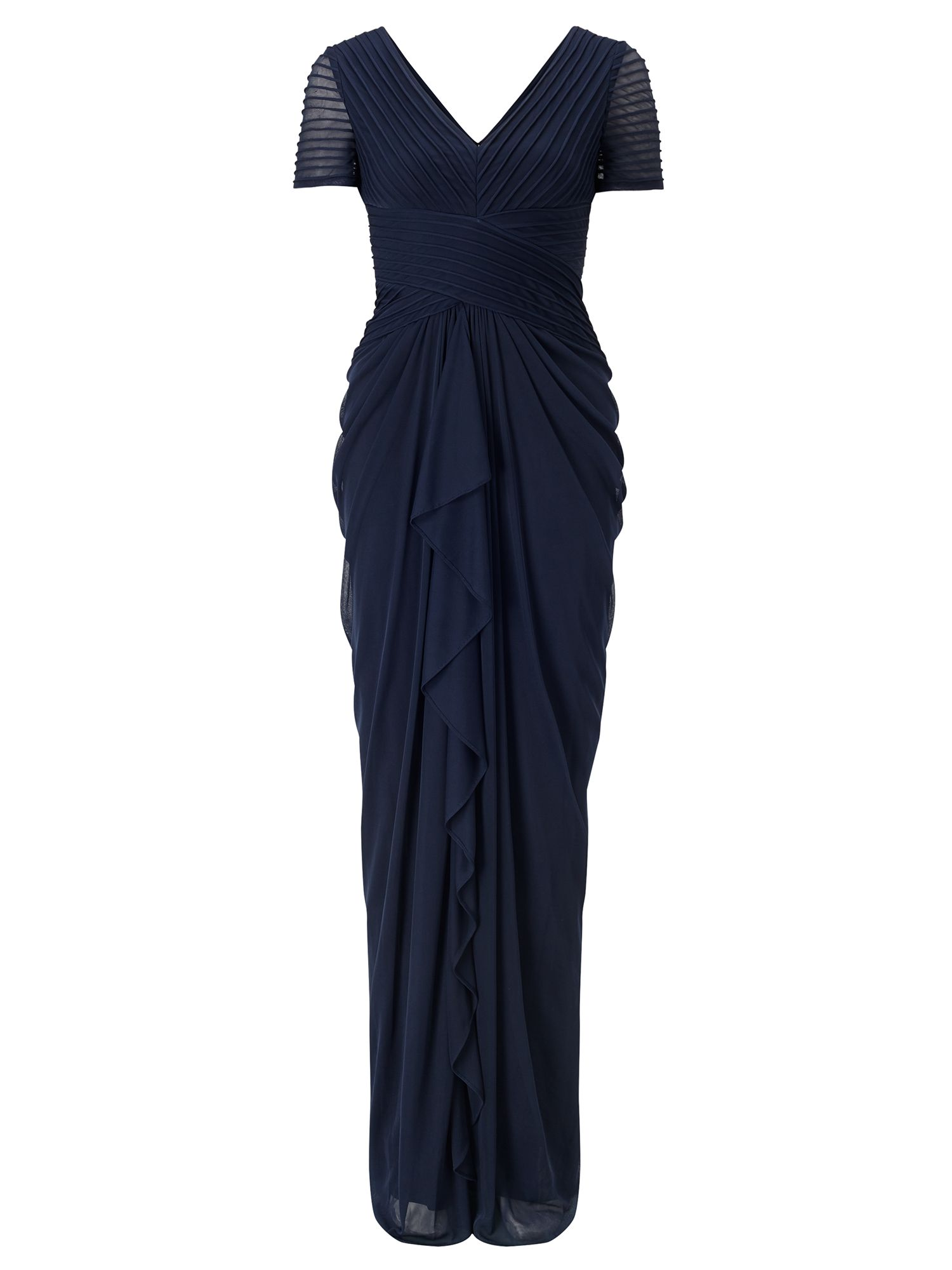 Adrianna Papell Short sleeve drape evening dress, Blue