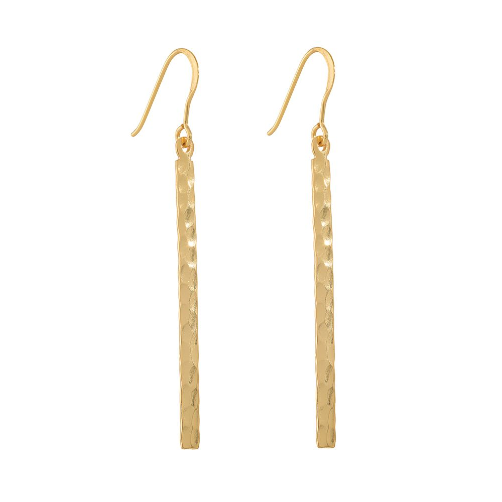 Juvi Designs Antibes gold hammered bar earring, N/A