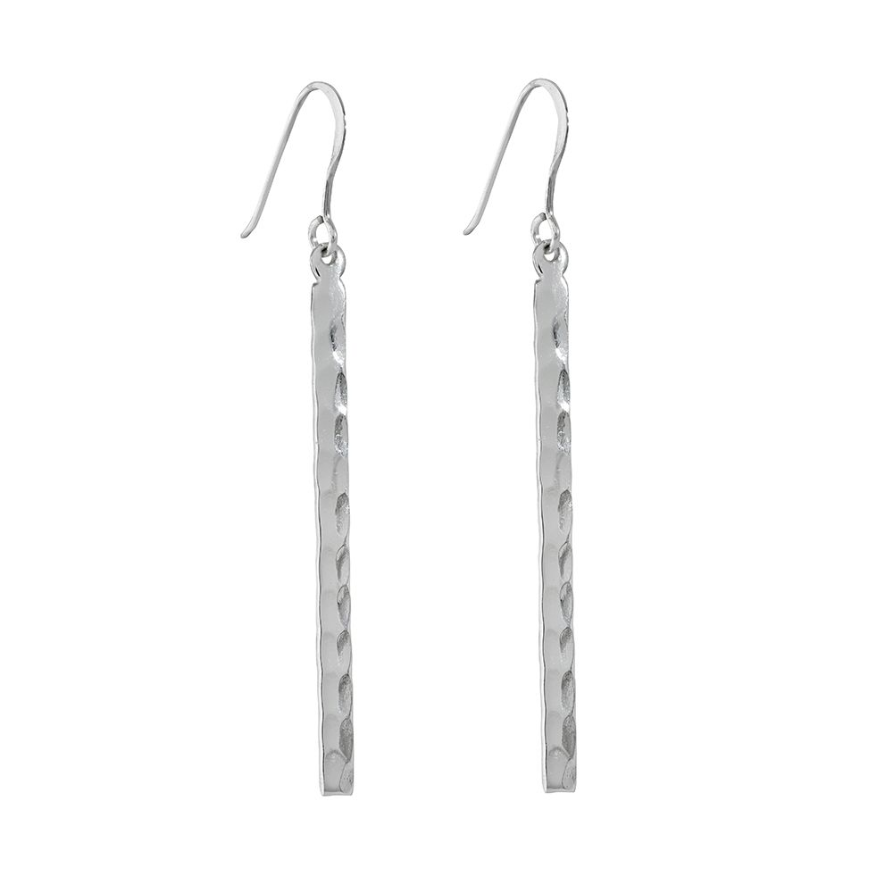 Juvi Designs Antibes silver hammered bar earring, N/A