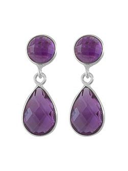 Antibes silver faceted teardrop earring