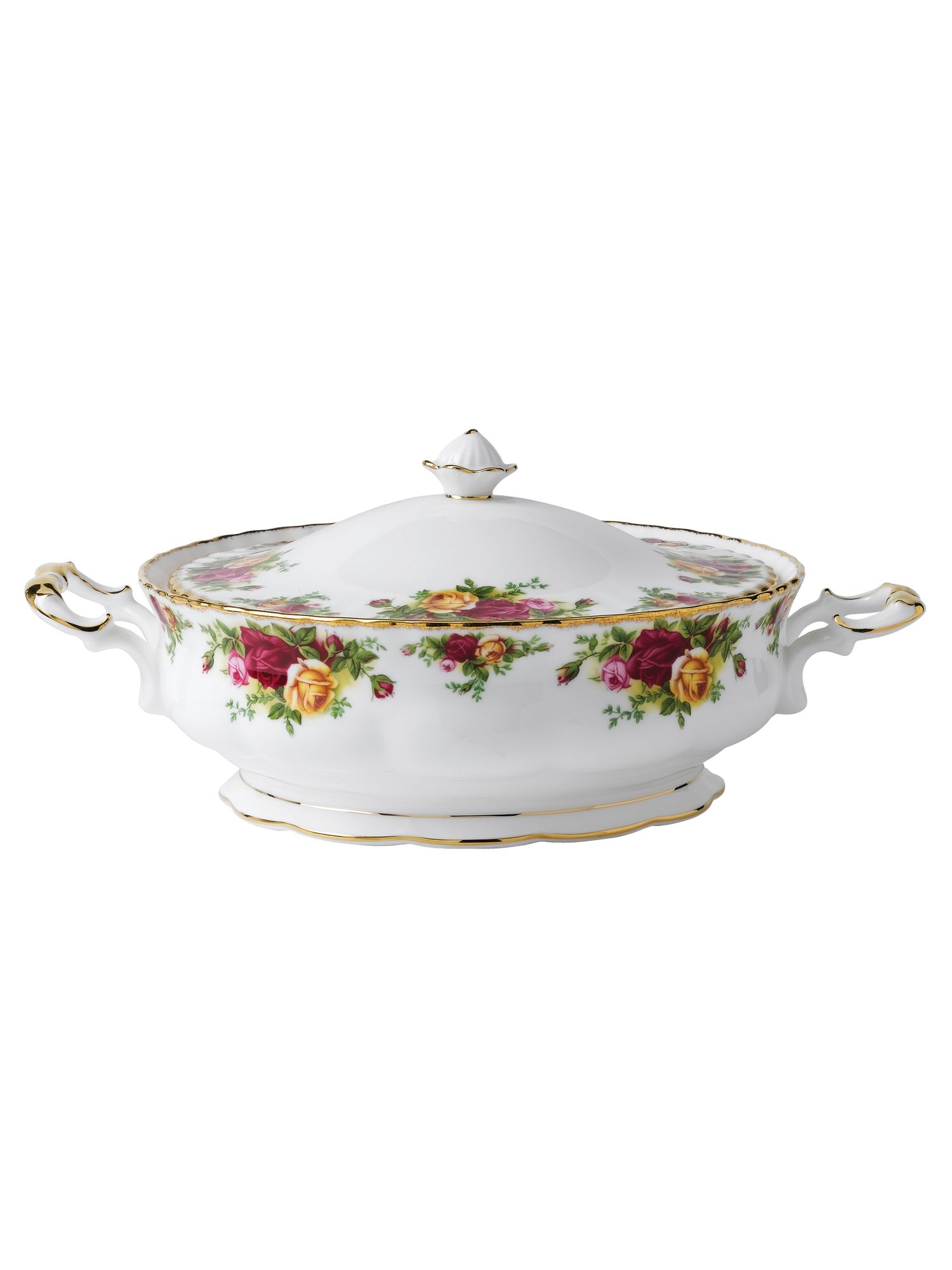 Old country roses covered vegetable dish
