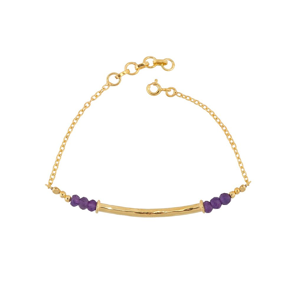 Juvi Designs Gold vermeil boho bamboo bar bracelet, Purple