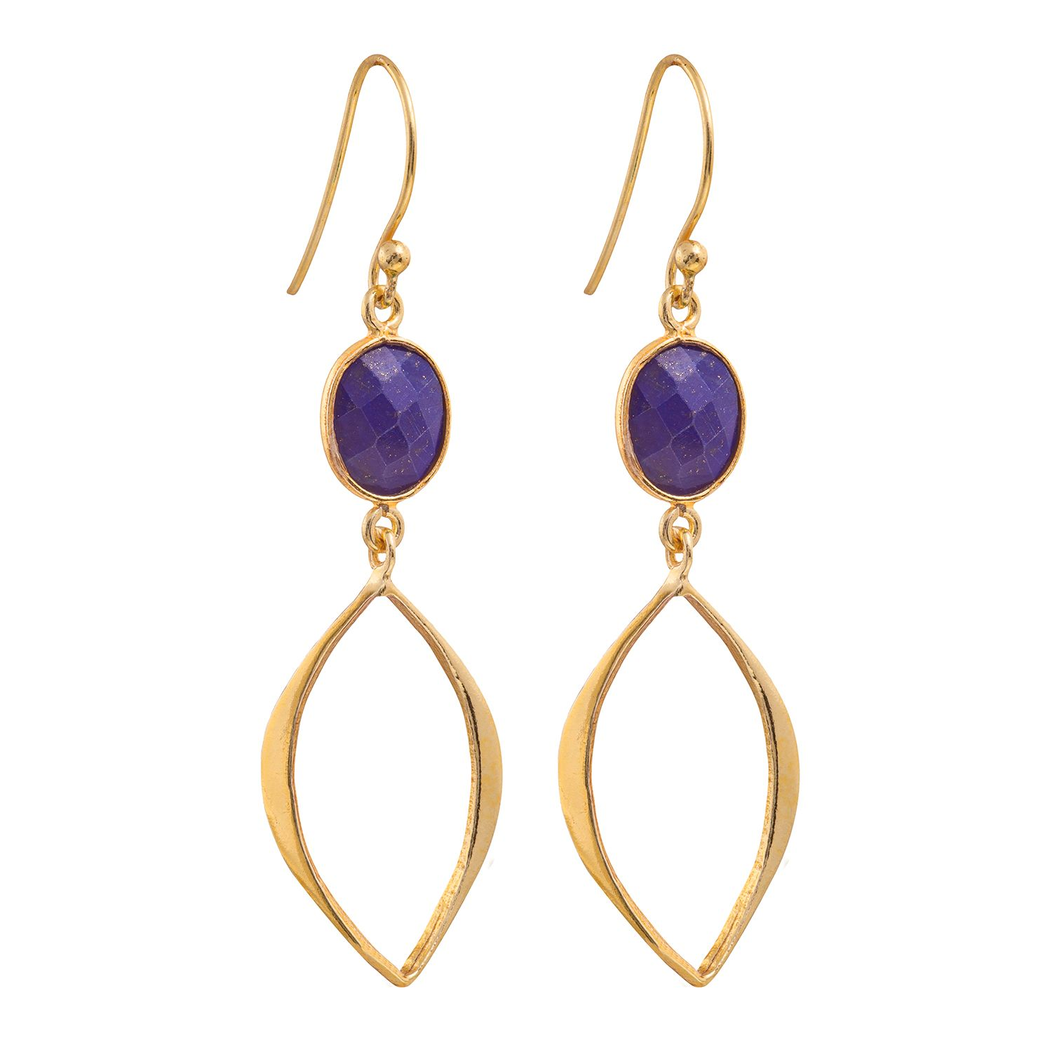 Juvi Designs Gold vermeil boho cat eye earrings, Blue