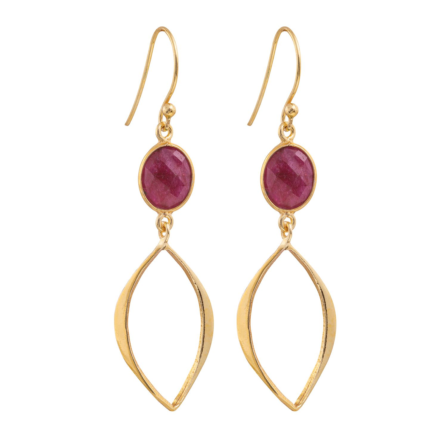 Juvi Designs Gold vermeil boho cat eye earrings, Red