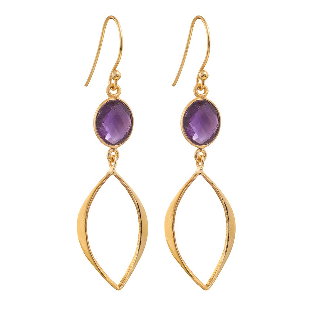 Juvi Designs Gold vermeil boho cat eye earrings, Purple