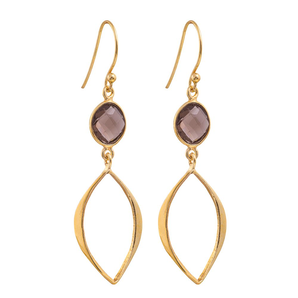 Juvi Designs Gold vermeil boho cat eye earrings, Brown