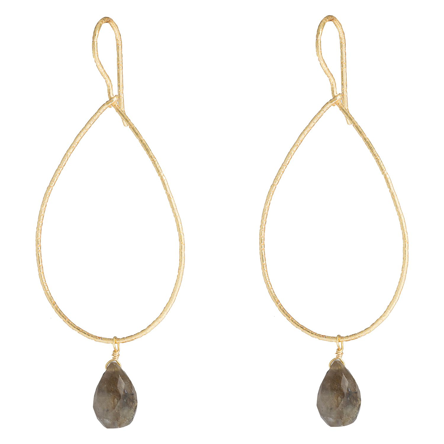 Juvi Designs Gold vermeil boho sway me earrings, Grey