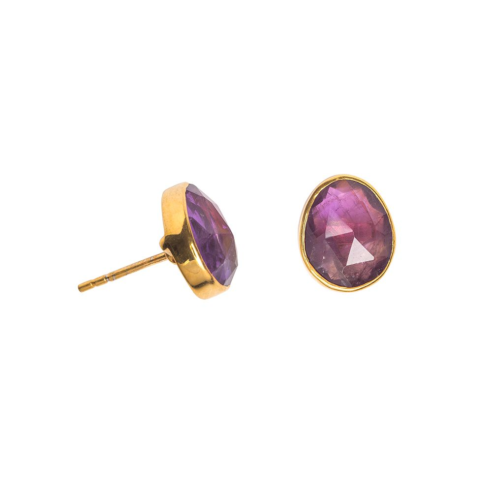 Juvi Designs Gold vermeil boho oval stud, Purple