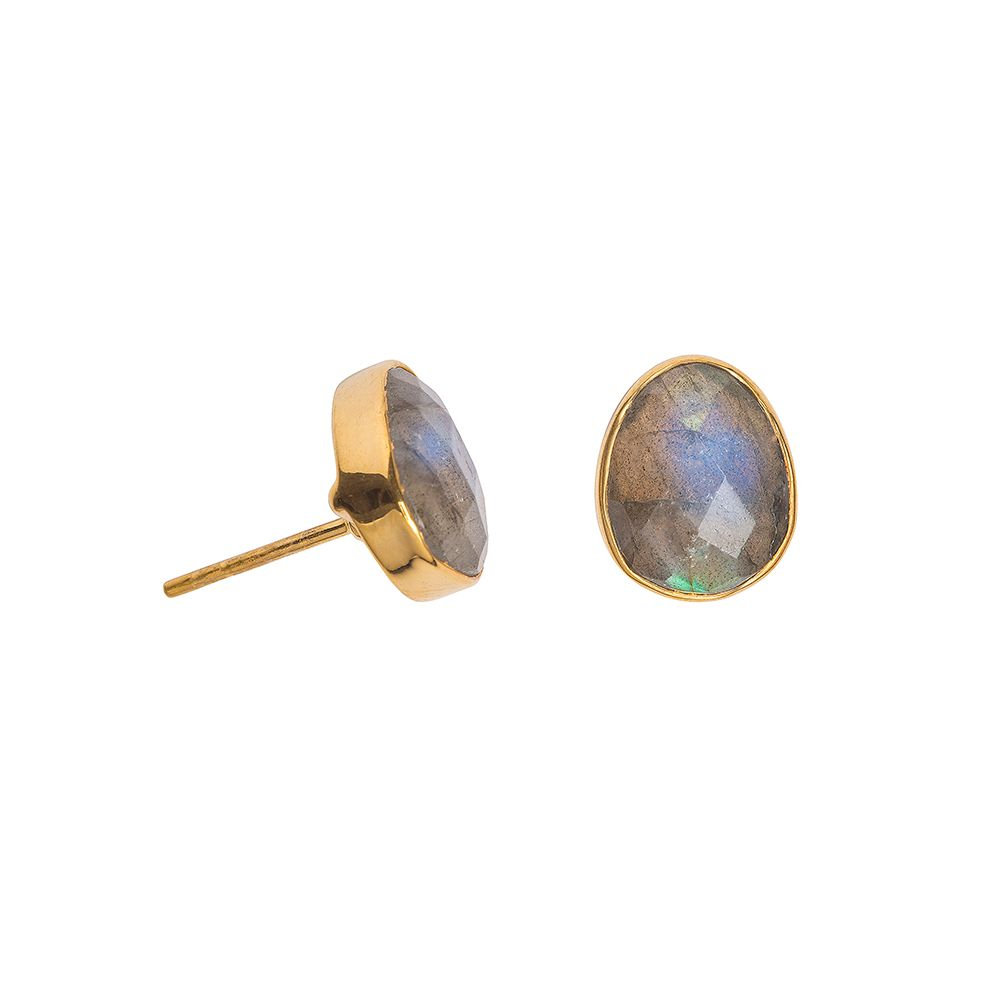 Juvi Designs Gold vermeil boho oval stud, Grey