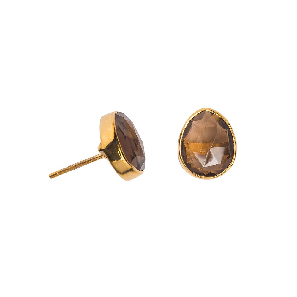 Juvi Designs Gold vermeil boho oval stud, Brown