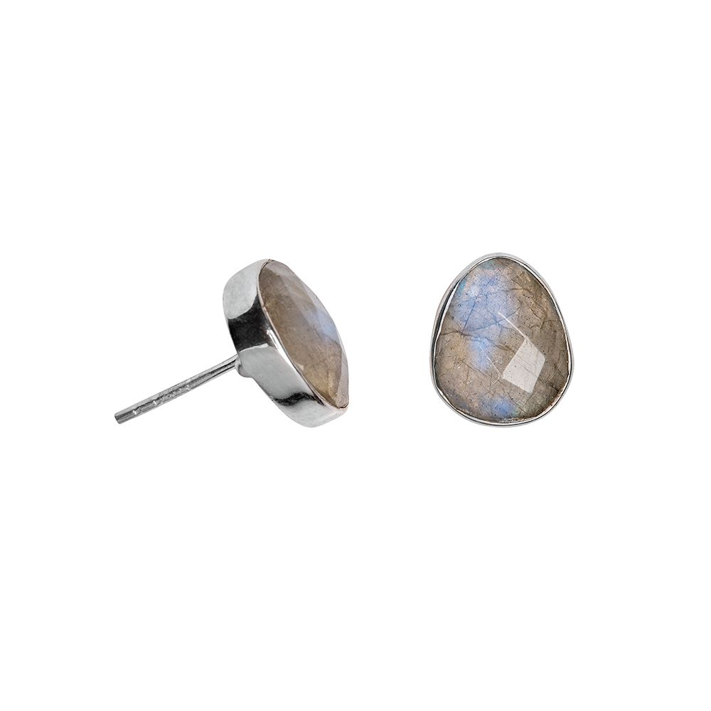 Juvi Designs Sterling silver boho oval stud, Grey