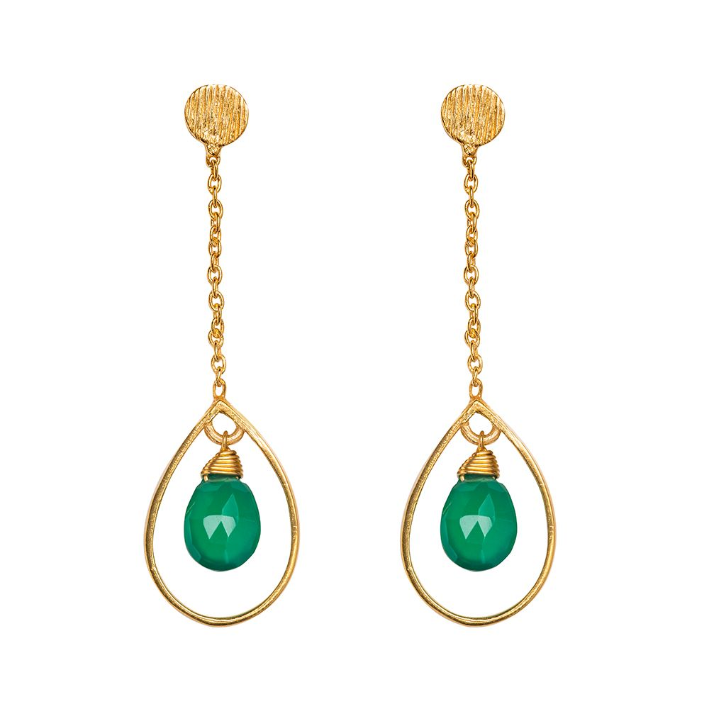 Juvi Designs Gold vermeil boho swing me earring, Green