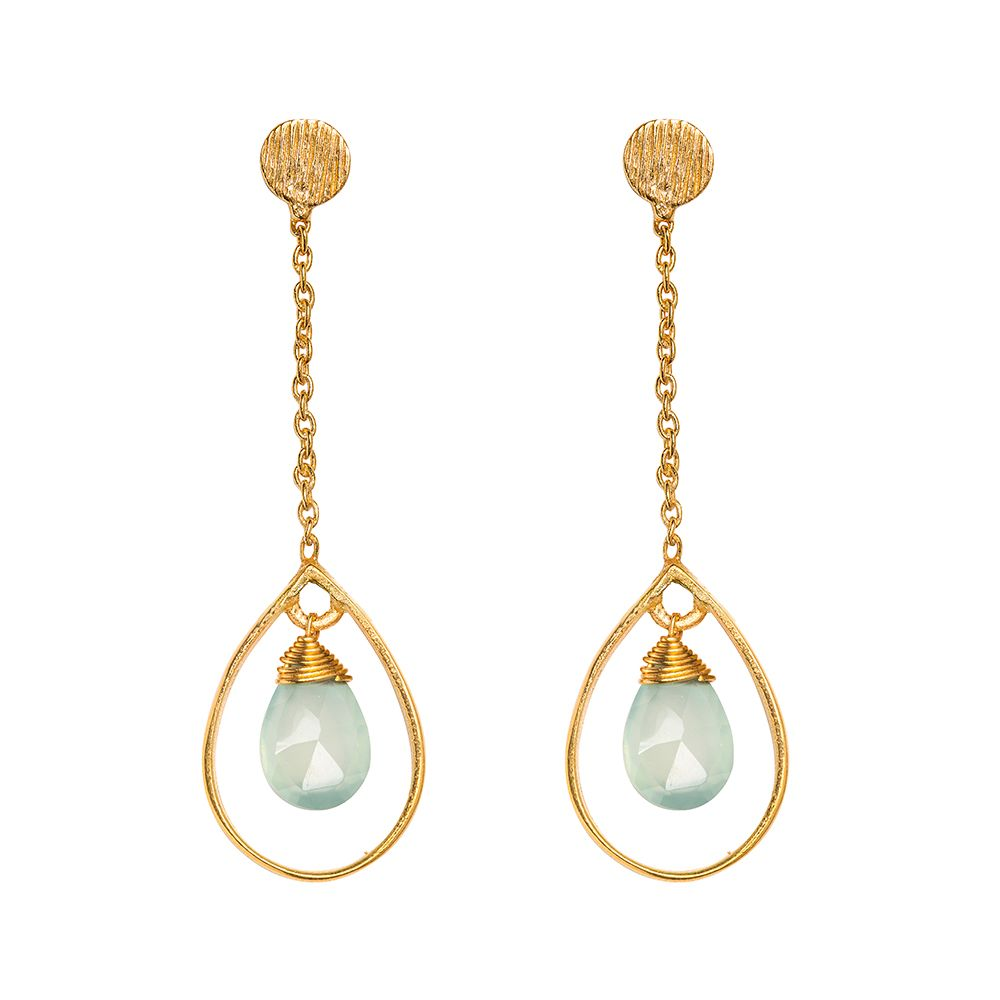 Juvi Designs Gold vermeil boho swing me earring, Blue