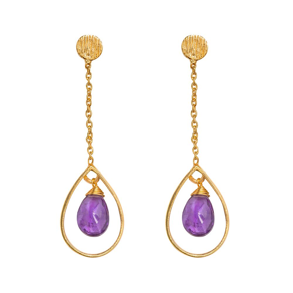 Juvi Designs Gold vermeil boho swing me earring, Purple