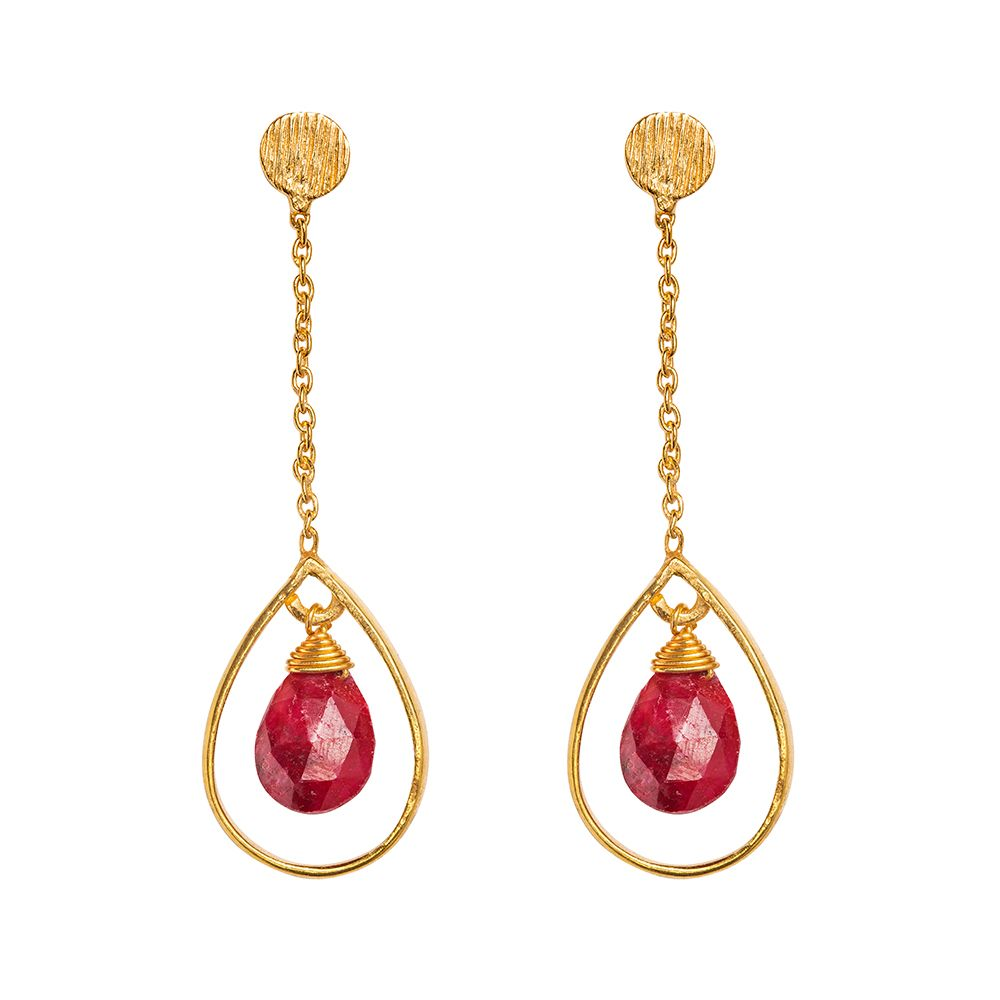 Juvi Designs Gold vermeil boho swing me earring Red