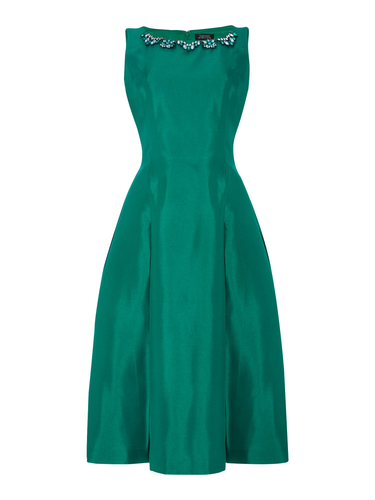 Tahari ASL Fit and Flare Embelished Dress, Emerald