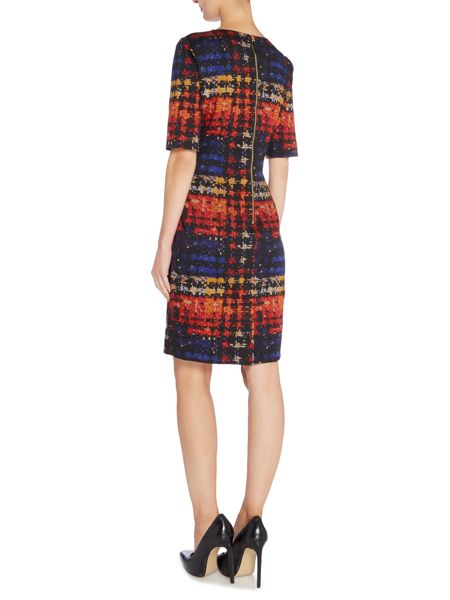 Tahari ASL Splattered Dogtooth Print Dress