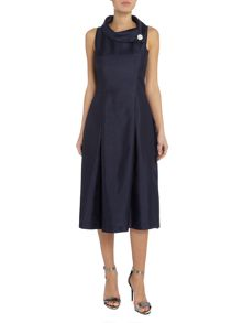 Tahari ASL Silver Envelope Collar Midi Dress