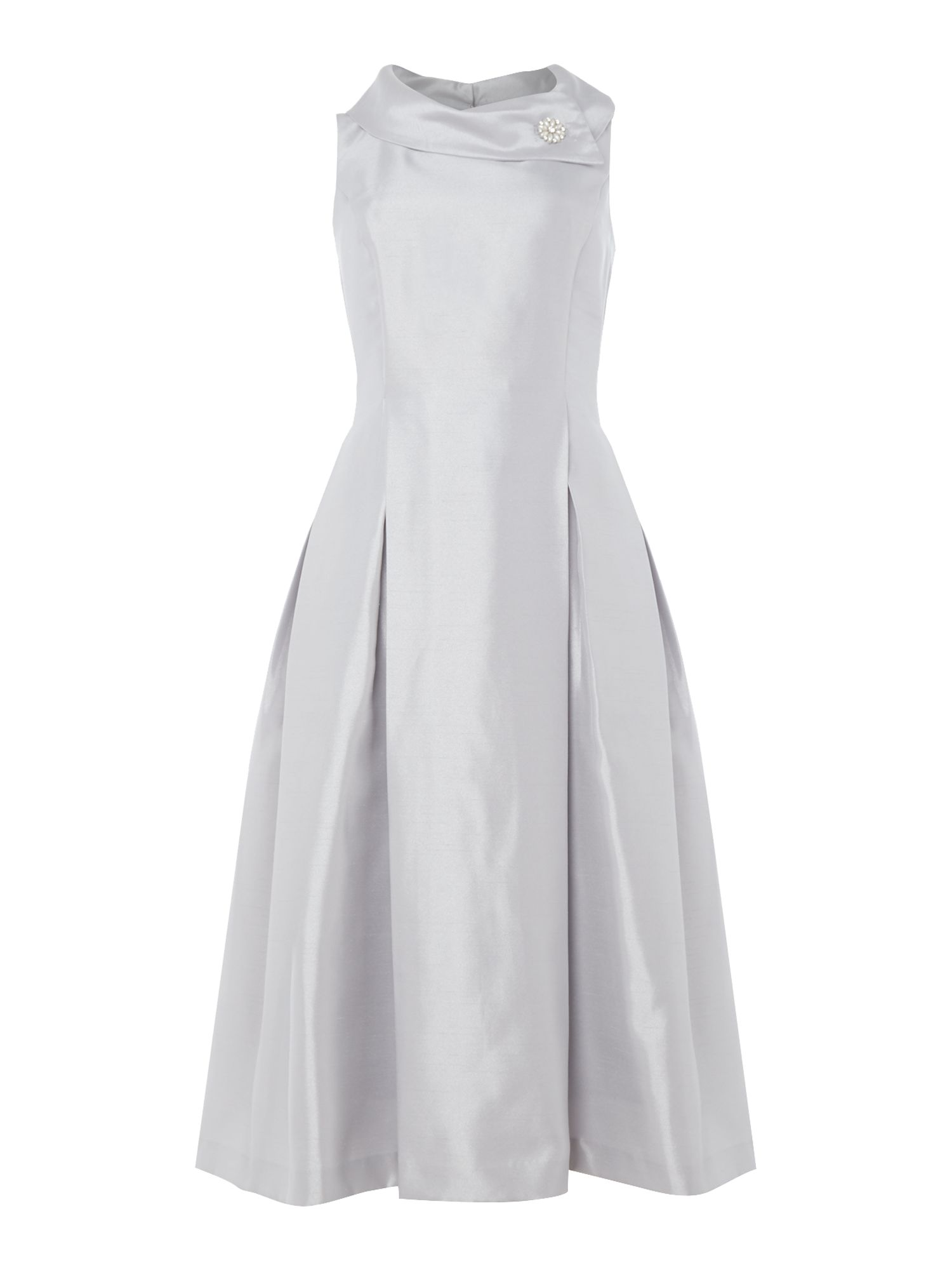 Tahari ASL Silver Envelope Collar Midi Dress, Silver Silverlic