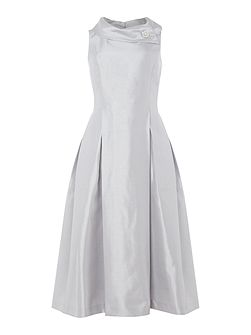 Silver Envelope Collar Midi Dress
