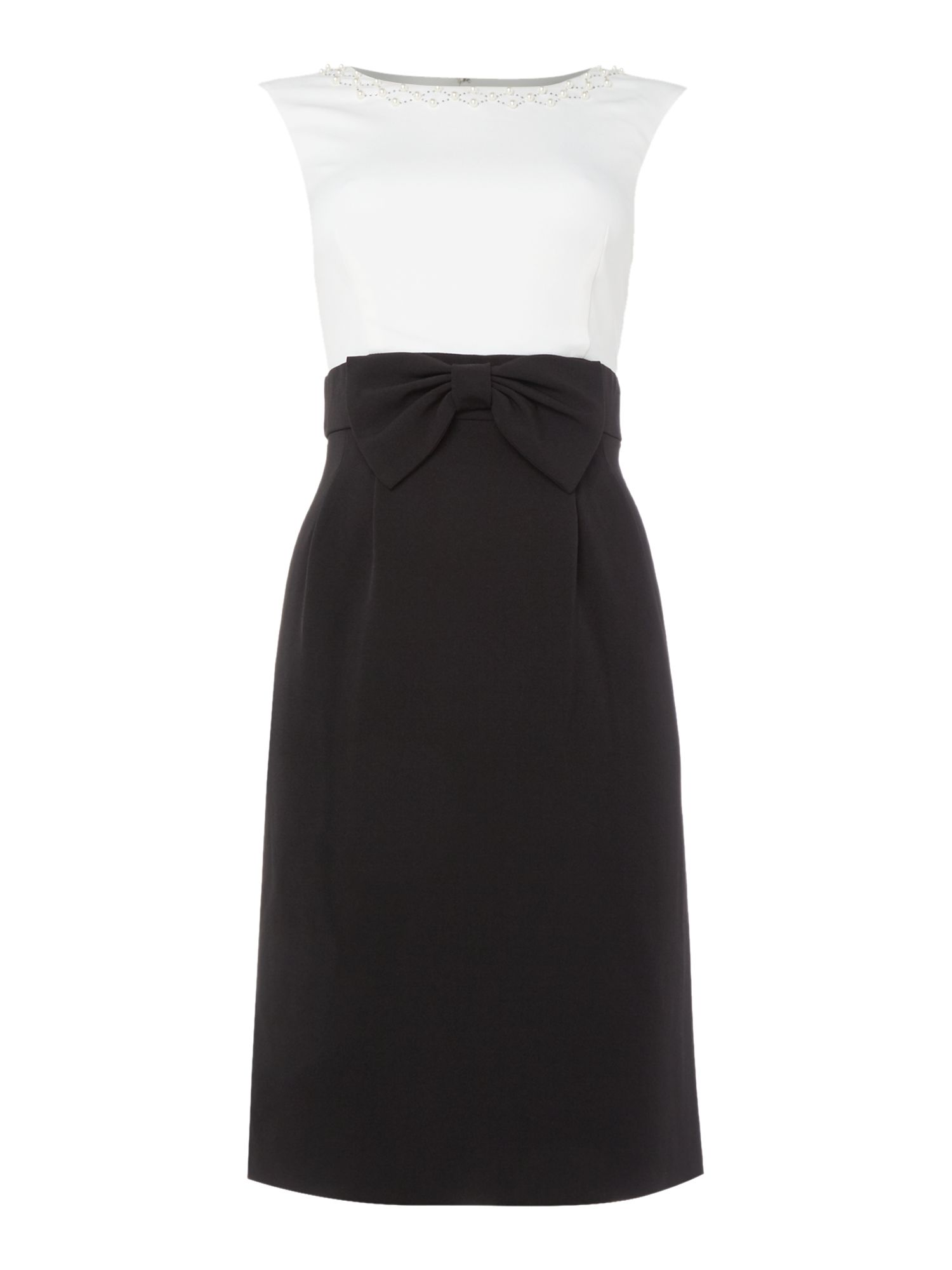 Tahari ASL Black and White Shift Dress with Embellished Coll, Black