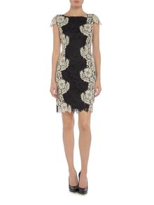 Tahari ASL Two Tone Lace Cap Sleeve Dress