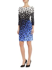 Tahari ASL Jersey Spotted Long Sleeve Dress