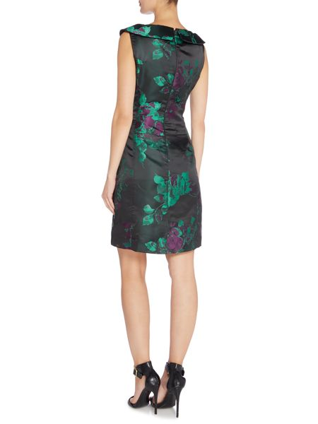 Tahari ASL Short Sleeved Dress With Rouched Waist