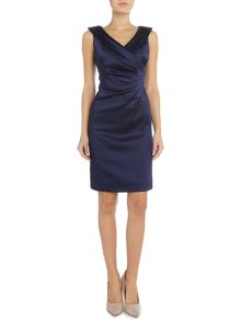 Tahari ASL Ruched Waist Dress Stretch Satin
