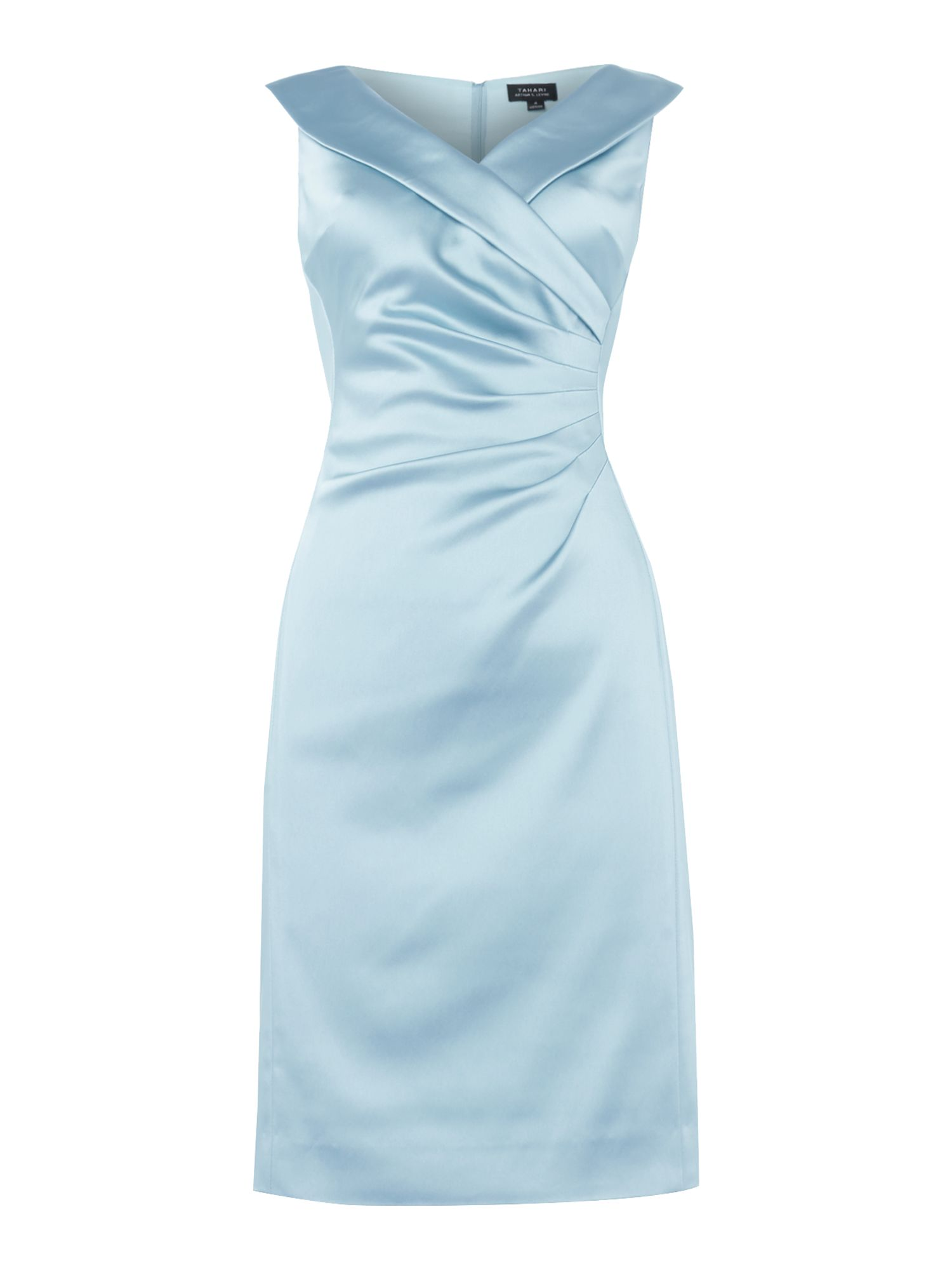 Tahari ASL Ruched Waist Dress Stretch Satin, Aqua