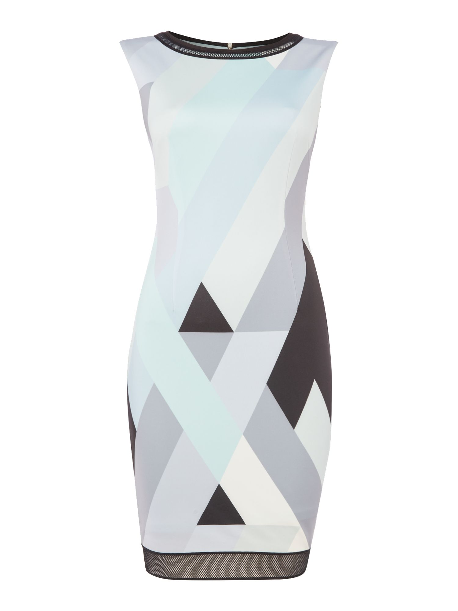 Tahari ASL Geometric Print Scuba Shift Dress, Blue