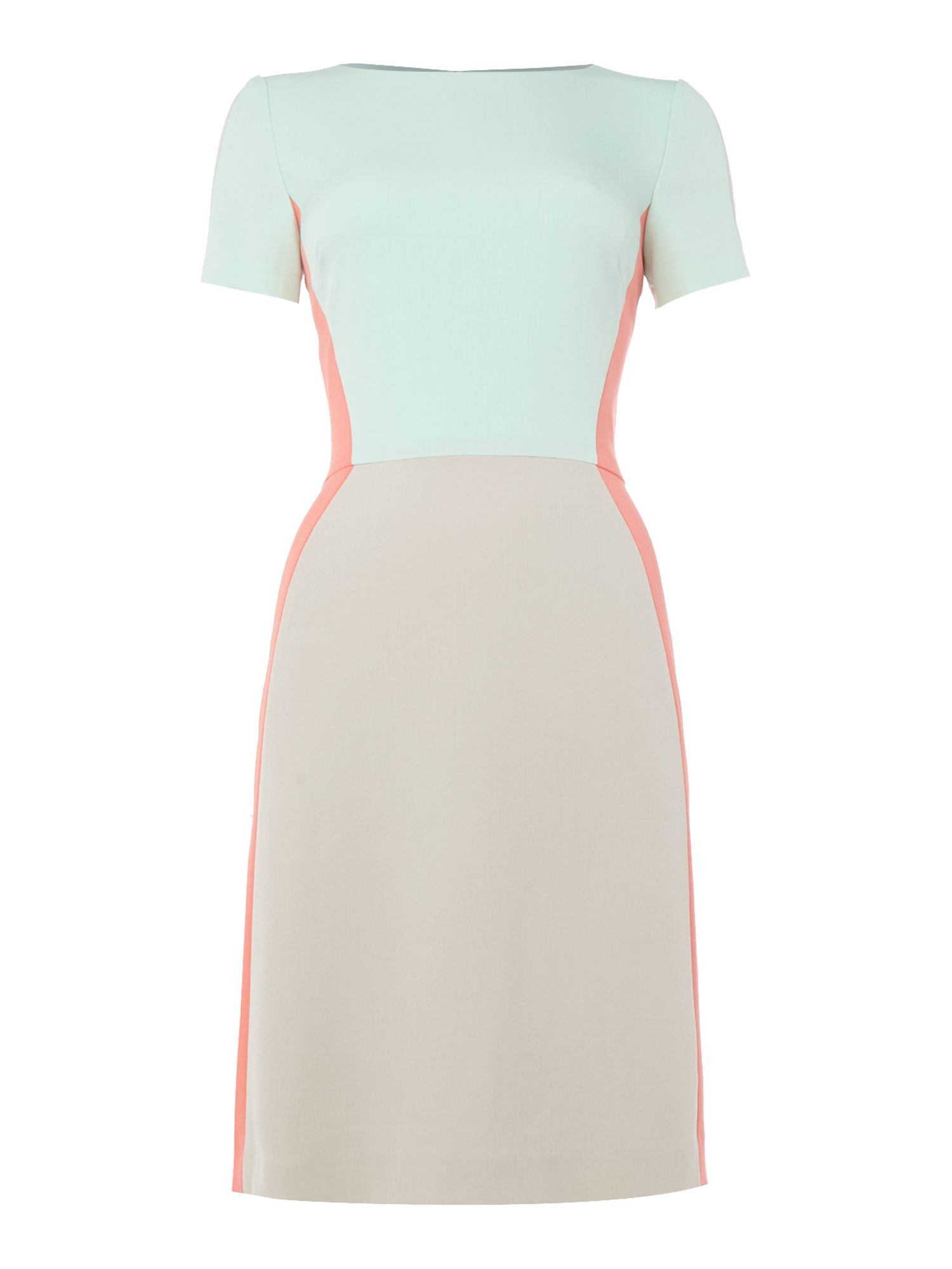 Tahari ASL Short Sleeved Colour Block Dress, Multi-Coloured